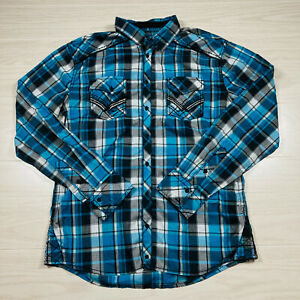 Buckle Black Mens Western Long Sleeve Shirt Size Large Athletic Fit Blue Plaid