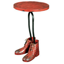 Unique Quirky Metal Side Table Round End Coffee Boots Console Vintage Furniture