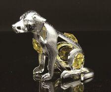 SILVER PLATED DOG FIGURINE/ORNAMENT STUDDED W/ YELLOW SWAROVSKI CRYSTAL ELEMENTS