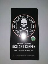 "⚡⚡Death Wish INSTANT Coffee Singles X8 ~ USDA Organic ~ ""WORLD'S STRONGEST"" ⚡⚡"