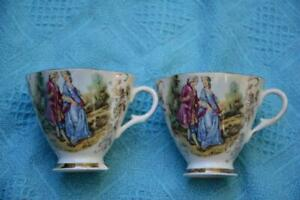 Vintage TEA CUPS - GEORGANN Fine China England.Courting Couple DESIGN Gold Trim
