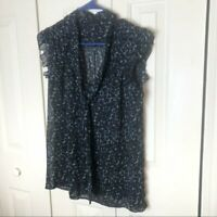 New York & Co Black & Blue Blouse Medium
