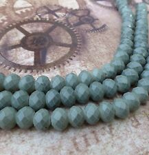 Strand of 26 Rondelle Glass Beads Slate Blue RCC68SB