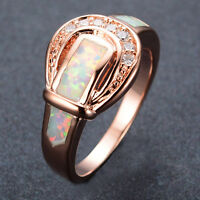CZ Belt Wedding Rings Fire Opal 10Kt Rose Gold Filled Band Womens/Mens Size 6-10