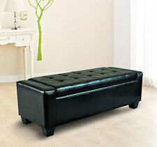 Black Storage Ottoman Bench Modern Large Faux Leather Footstool Organizer Seat