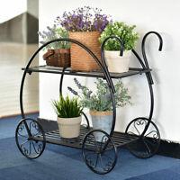 Metal Flower Cart Pot Rack Plant Display Stand Holder Decor Heavy Duty