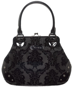 Rock Rebel Mistress Kisslock Gothic Punk Damask Handbag Purse HB10-DAMASK-BLACK