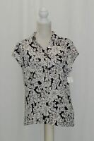 Charter Club Geo-Print Polo Top Deep Black Floral Combo L