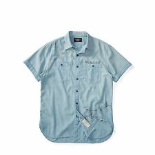 RRL Ralph Lauren Slim Cotton Chambray Flight Print Vintage Army Shirt L NWT