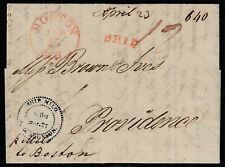 SHIP MILO cancel on 1818 cover from Stockholm, Sweden to Providence RI