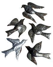 "Set 5 Metal Birds Flying Haitian Oil Drum Art Fair Trade Handmade Haiti, 6x7"""