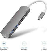 USB C Hub w/ 2 USB 3.0 Ports,MicroSD/TF&SD Card Reader-Aluminum Slim Design Gray