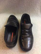 Prada Sport Mens Black Leather Slip On Loafers 0950 Size 8.5