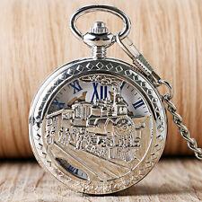 Vintage Roman Numerals Silver Train Mechanical Hand Wind Men Pocket Watch Chain