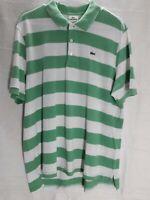 "Lacoste Green White Stripe Polo Shirt Size 7 XL 23"" Chest Button Down Front"