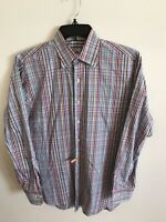 Peter Millar Mens Medium Button Down Shirt Multi Color Plaid 100% Cotton SoftEUC