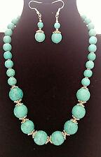 Vogue Round Shape Turquoise Beads Stone Pendant Necklace Set