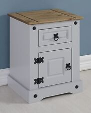 CORONA GREY AND DISTRESSED WAXED PINE PETITE BEDSIDE CABINET *NEXT DAY DELIVERY