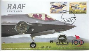 2021 BRISBANE ANDA MONEY EXPO $1 RAAF CENTENARY STAMP COIN COVER PNC