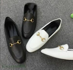 Women's Spring Loafers Genuine Leather Slip On Flat Stylish Sneakers Shoes Black