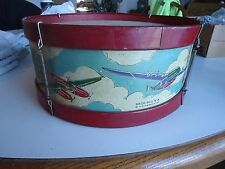 Toy Drum tin litho Airplane warplanes Noble & cooley co vintage 12""