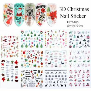 11 Designs/Set 3D Stickers For Nails Christmas Snowflakes Deer Sliders Decals