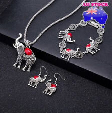 Retro Cut Red Turquoise Elephant Pendant Necklace Earrings Bracelet Set