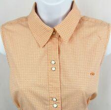 Roper Women's Pearl Snap Shirt Top Sleeveless Medium 100% Cotton