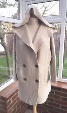 Zara Ecru / Cream Wool Mix Double Breasted Hooded Knit Coat Size L Uk 14 BNWT