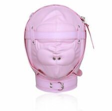 Bondage Fetish Premium Pink Total Sensory Deprivation Faux Leather Hood.3020