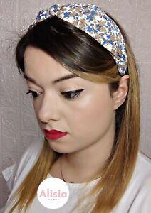 Cerchietto capelli stoffa fantasia fiori azzurri fermaglio fascia nodo donna