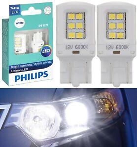 Philips Ultinon LED Light 7443 White 6000K Two Bulbs Brake Stop Tail Upgrade OE