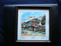 Beautiful Watercolor Painting Signed Loparski Vew of Trqvna 20cm/20cm  #223