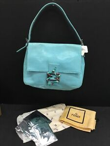 AUTHENTIC NEW W TAGS Fendi Reptile Turquoise Celeste Shoulder Bag Snake Clasp