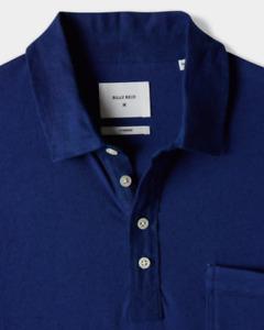 Billy Reid SMALL Cotton Linen Polo Shirt - Indigo Blue