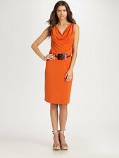 NWT $524 Josie Natori Carved-Belt Sheath jersey draped Dress horn belt orange M