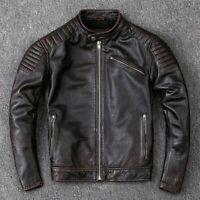 Mens Biker Vintage Distressed Black Cafe Racer Motorcycle Leather Jacket