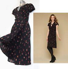 MONSOON Black Print Savannah Wrap Style Casual Formal Dress 12  EU 40