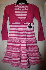 NWT Boutique Barbara Farber Pink Striped Ruffle Twirl Dress Cover Up Set 122 7 Y