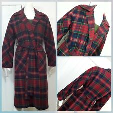 Womens Vintage Red Wool Christmas Tartan  Plaid Over Coat Trench Dress Sz L XL