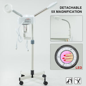 2In1 Hot Spray Facial Steamer 5x LED Magnifying Lamp Beauty Salon Face Skin Care