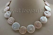 "Coin Pearl Necklace 14k #f2064! 17"" Genuine Natural 19-22mm White Pink"