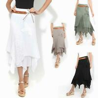 Womens Boho Gypsy Skirt Long Maxi Tiered Lace Hitched Hem Cotton Festival Drape