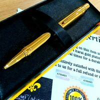 24k Gold Plated Metal Cross Nile Ball Point Writing Pen Twist Black Ink Gift Box