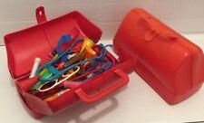 Vintage Toy Medical First Aid Kit Nurse Doctors Bag Red case plastic (fun purse)