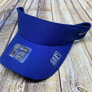 Nike Dry Wool Swoosh Visor Men's Adjustable Strapback Cap Authentic Golf Blue