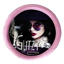 Quality Steering Wheel Cover - Glitzy Pink Leather Look with Bling Diamante