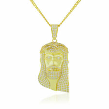 """925 Sterling Silver Yellow Gold-Tone Large Hip-Hop Jesus Pendant Necklace, 36"""""""
