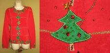 Free s/h JACK B QUICK sz XL Christmas Tree ugly Cardigan Red SWEATER bust 45