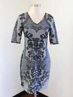 Yoana Baraschi Anthropologie Blue Ornate Floral Scarf Print Dress Sz 2 Cocktail
